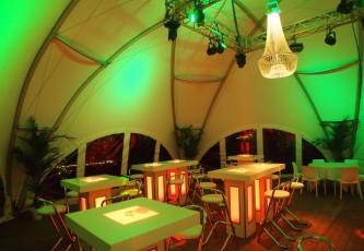 Megadome tent, partyverhuur Goossens, Bluiloft, Huwelijk, Ronde tent