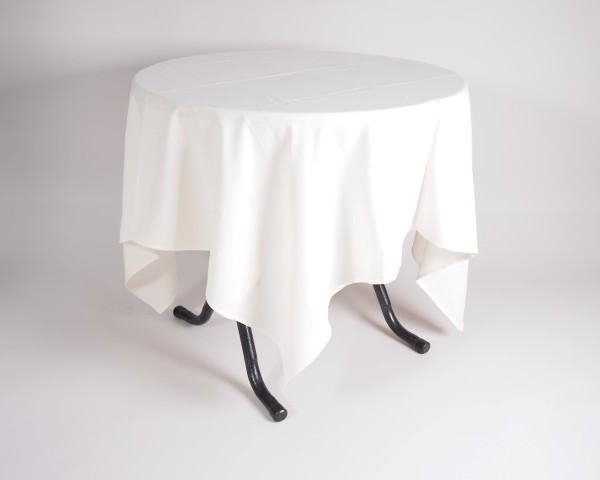 tafel graniet Ø80 met tafelkleed wit   1